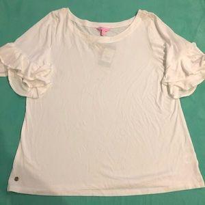 NWT Lily Pulitzer Ruffle Sleeve Shirt